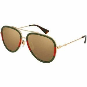Gucci Aviator Sunglasses W/Gold Polarized Lens